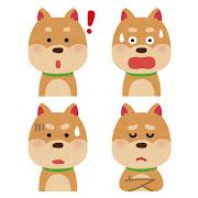 いろいろな表情の犬のイラスト「ひらめいた顔・驚いた顔・焦った顔・悩んだ顔」