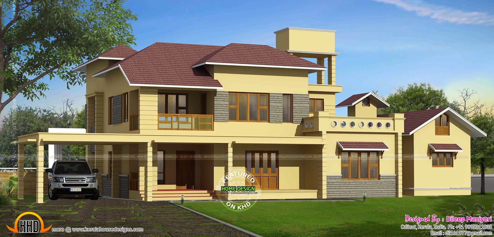 Mixed style house exterior - Kerala home design and floor plans