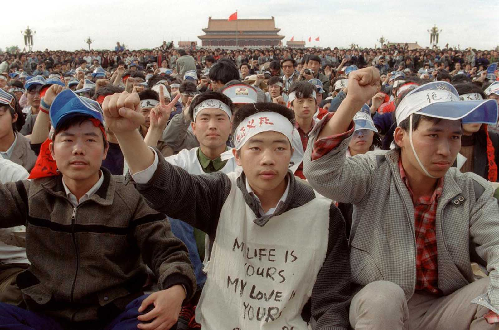Students from Beijing University stage a huge demonstration in Tiananmen Square as they start an unlimited hunger strike as the part of mass pro-democracy protest against the Chinese government, on May 18, 1989.