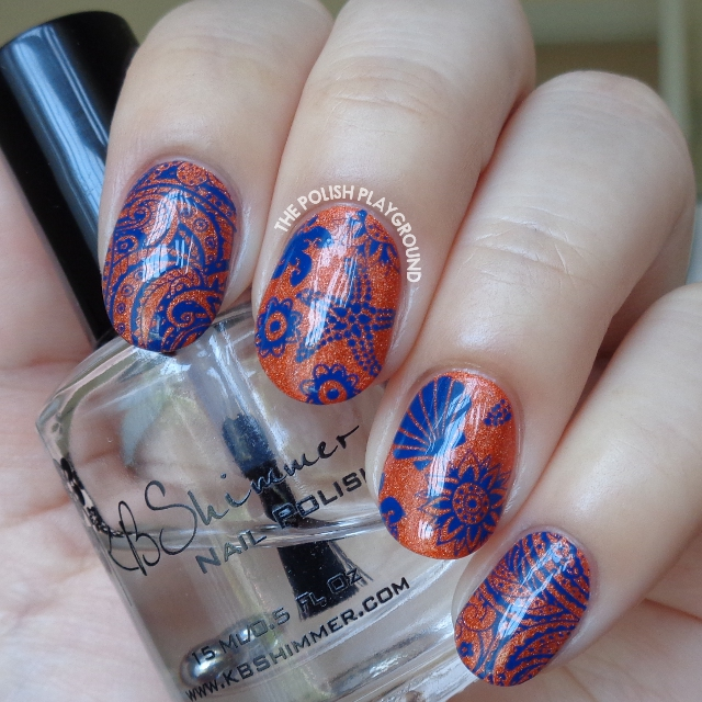 Orange Holo and Dark Blue Beach Themed Stamping Nail Art