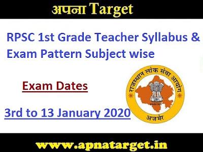 RPSC 1st Grade Teacher Syllabus 2020
