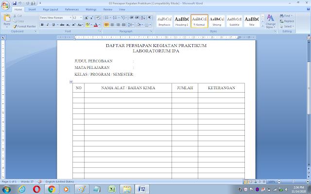 Format daftar persiapan kegiatan praktikum laboratorium