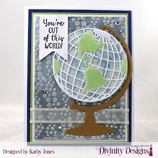 Divinity Designs Stamp Set: Color My World, Custom Dies: Rectangles, Pierced Rectangles, Globe & Stand, Circles, Pennant Flags, Mixed Media Stencils: Bubbles