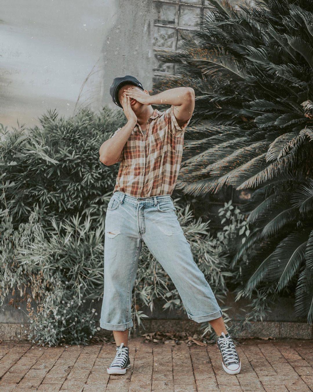 Look Masculino inverno Retro Vintage com camisa xadrez