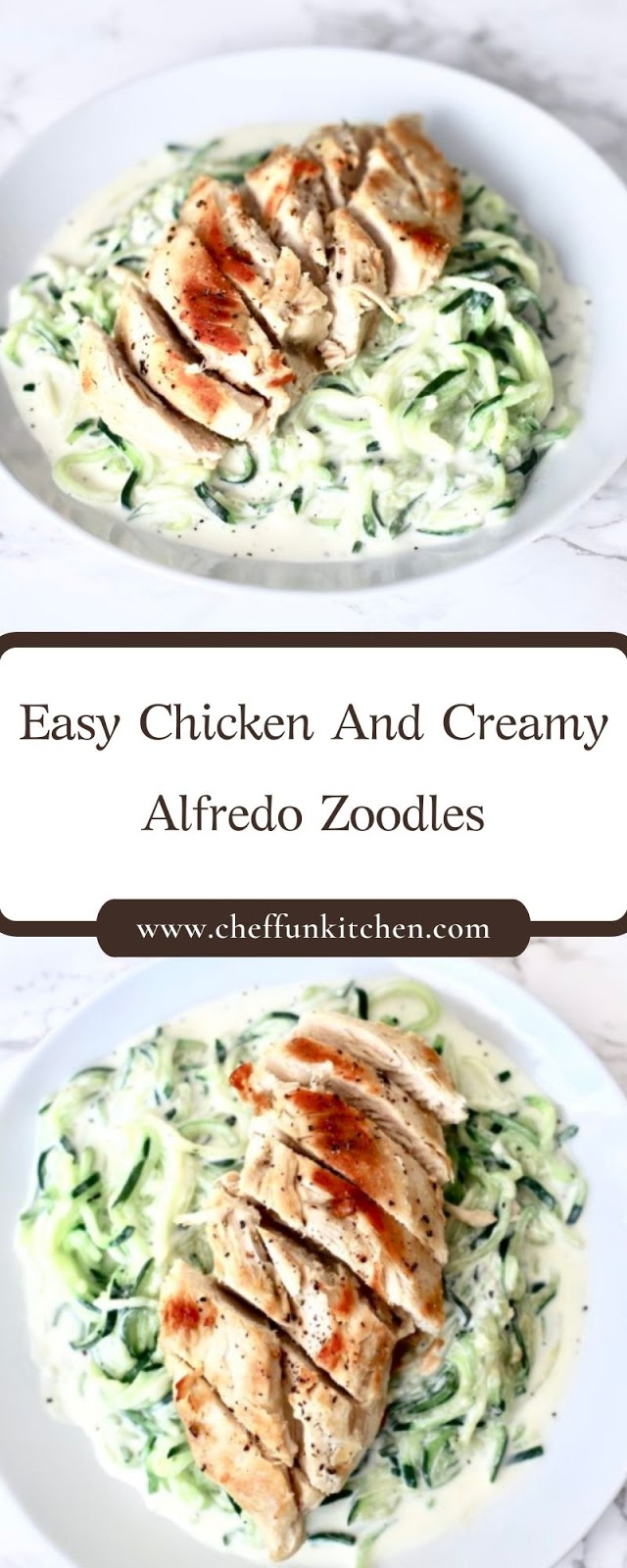 Easy Chicken And Creamy Alfredo Zoodles