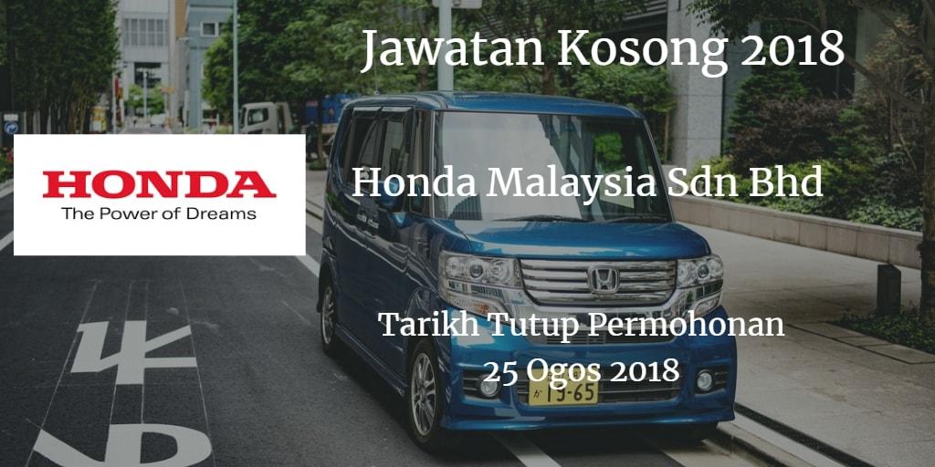 Jawatan Kosong Honda Malaysia Sdn Bhd  25 Ogos 2018