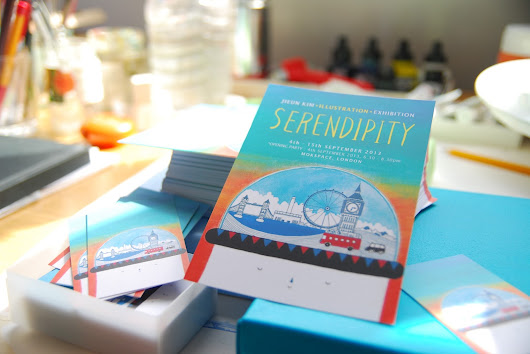 Jieun Kim illustration exhibition cards - SERENDIPITY