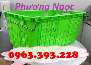 Sọt nhựa rỗng HS011, sọt nhựa có quai sắt, sọt nhựa đựng trái cây