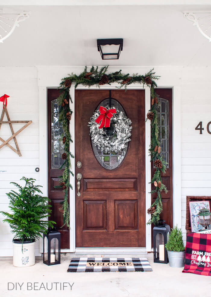 Christmas decorated porch and front door