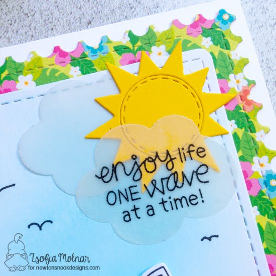 Enjoy Life One Wave at a Time Card by Zsofia Molnar | Newton's Perfect Wave Stamp Set, Framework Die Set, Frames & Flags Die Set, Sky Scene Builder Die Set, Sea Borders Die Set and Land Borders Die Set by Newton's Nook Designs #newtonsnook #handmade