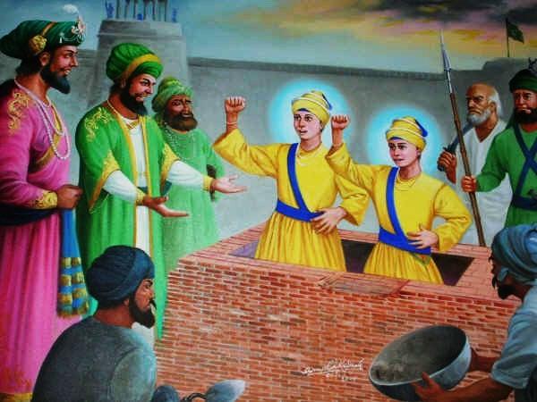 గురుగోవింద్ సింగ్ ఇద్దరు పిల్లలను సజీవ సమాధి చేస్తున్న దృశ్యం