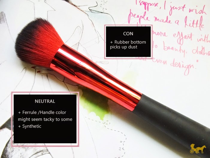 Landmark brushes : Rubber bottom picks up dust. Ferrule handle color seems tacky, synthetic
