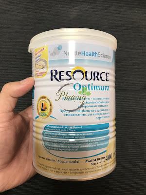 Sữa Resource Optimum của Nga dành cho người già, người sau khi ốm và cần bổ sung chất dinh dưỡng