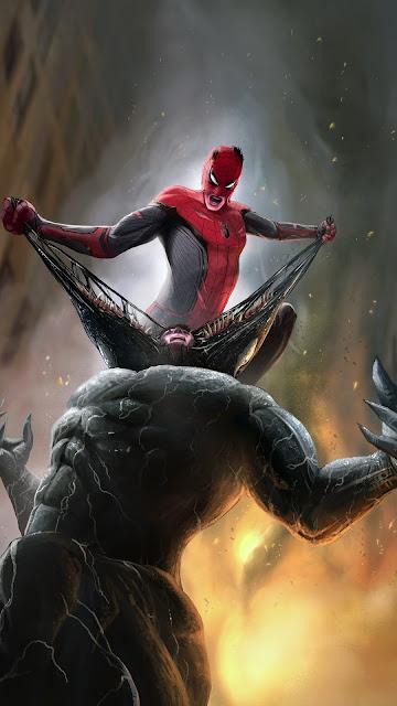 Spider man and Venom fighting phone wallpaper 1080p