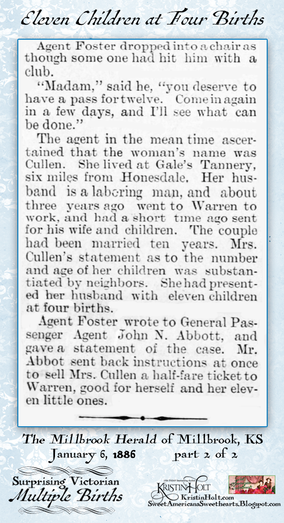 Kristin Holt | Surprising Victorian Multiple Births. Eleven Children born in four births. Part 2 of 2. From The Millbrook Herald of Millbrook, Kansas, January 6, 1886.