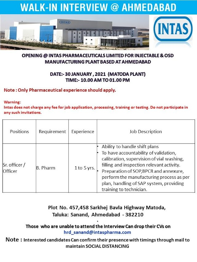 Intas Pharma | Walk-in interview at Ahmedabad for Production on 30th Jan 2021