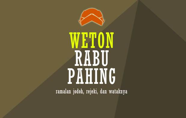Weton Rabu Pahing