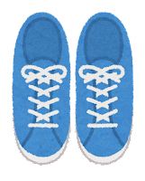 上から見た靴のイラスト(スニーカー・青)