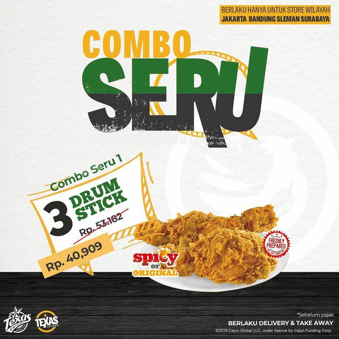 Texas Chicken Promo Combo Seru! Beli Paket Drum Stick harga mulai Rp. 40.909