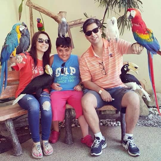Juggen Kazim with her son and husband