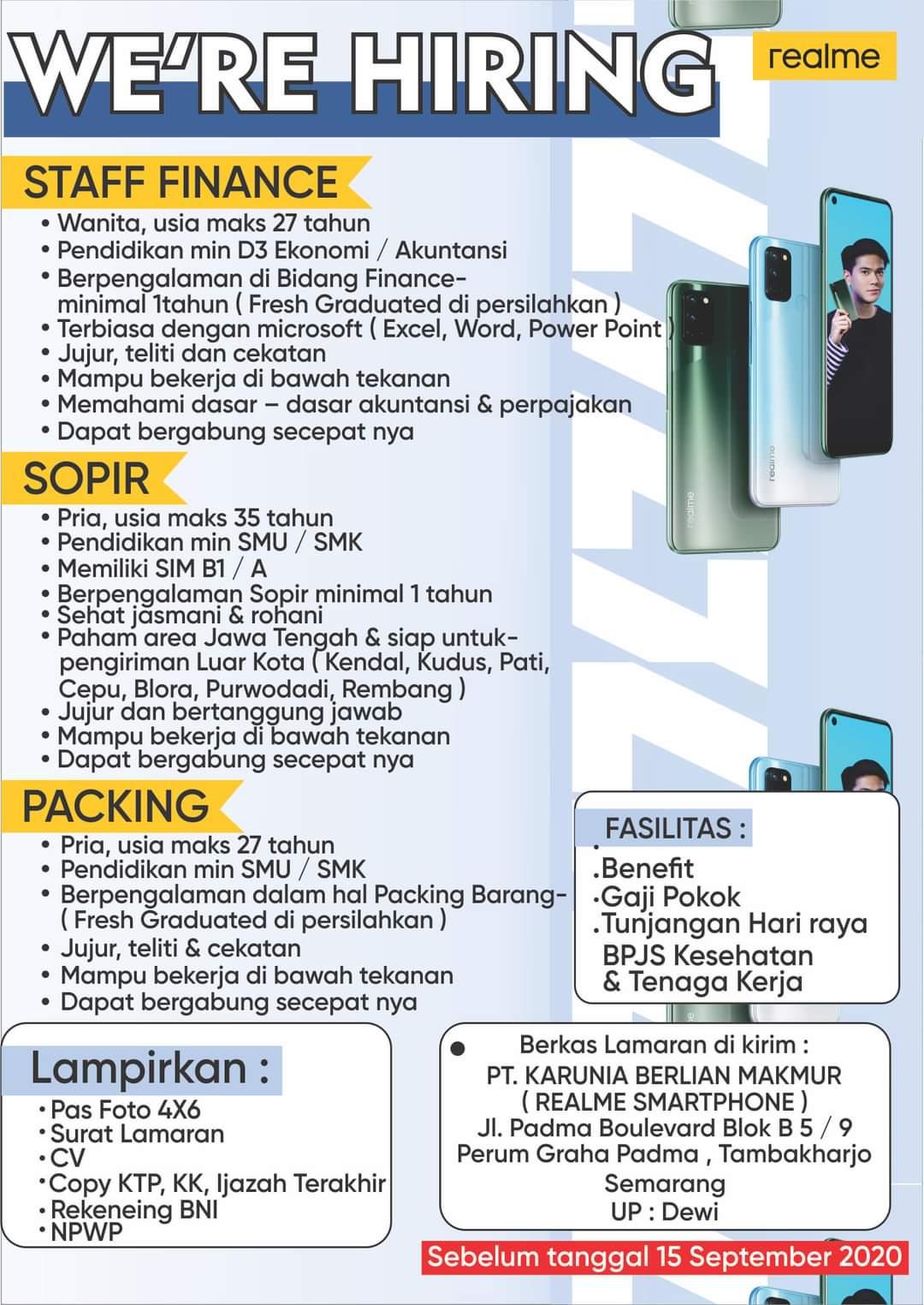 Dibuka Lowongan Kerja Realme Semarang Untuk Posisi Staff Finance, Sopir dan Packing