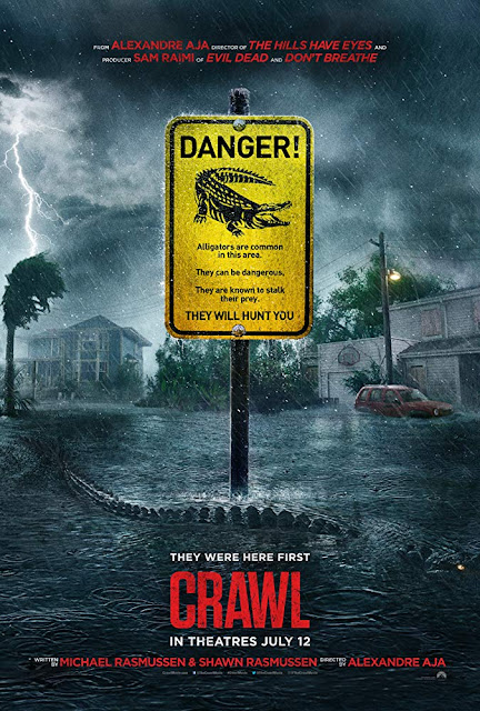 "Movie poster for Paramount Pictures and Raimi Productions's 2019 film ""Crawl"" (2019), starring Kaya Scodelario, Barry Pepper, Morfydd Clark, Ross Anderson, and Jose Palma"