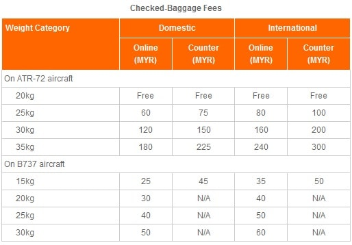 Firefly Airline baggage fee allowance