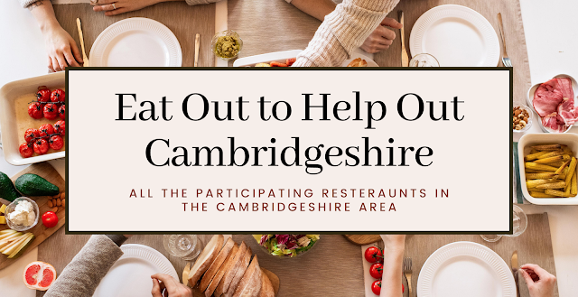 "The picture is a thumbnail photo. In the background is a spread of healthy food like tomatoes and bread. There are people reaching over and enjoying the food. There is a pink textbook in the middle saying ""Eat out to help out Cambridgeshire - Participating restaurants"""