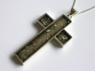 Sterling silver cross pendant for ashes (coloured black)