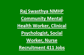 Raj Swasthya NMHP Community Mental Health Worker, Clinical Psychologist, Social Worker, Nurse Recruitment 2017 411 Govt Jobs
