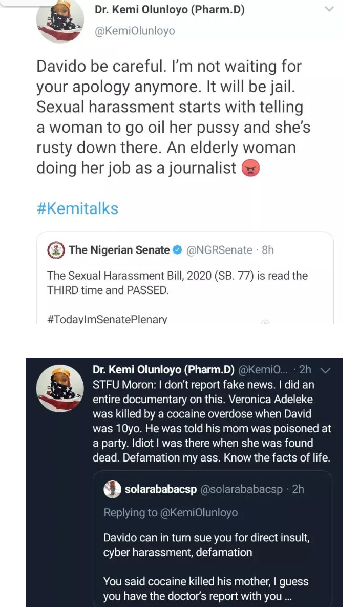 You Told Me To Go Oil My Middle Because It Is Rusty' – Kemi Olunloyo Recounts How Davido Allegedly Harassed Her #Arewapublisize