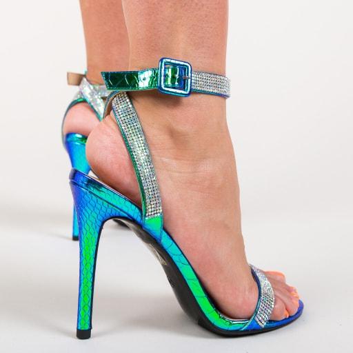 Sandale albastru metalizat cu strassuri argintii