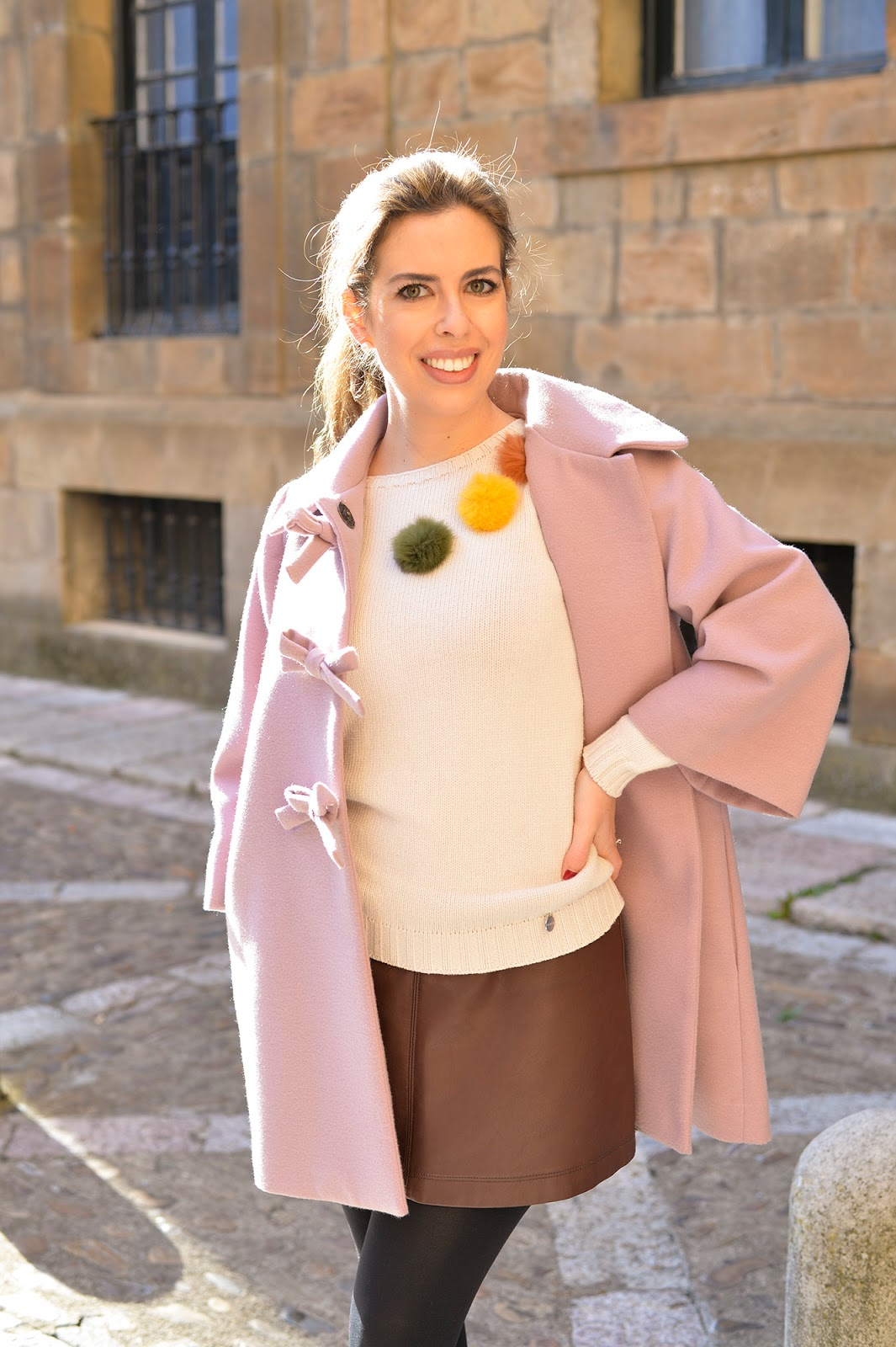 christmas holiday party outfit look ideas inspiration pom-pom bows neutral pastel color hue