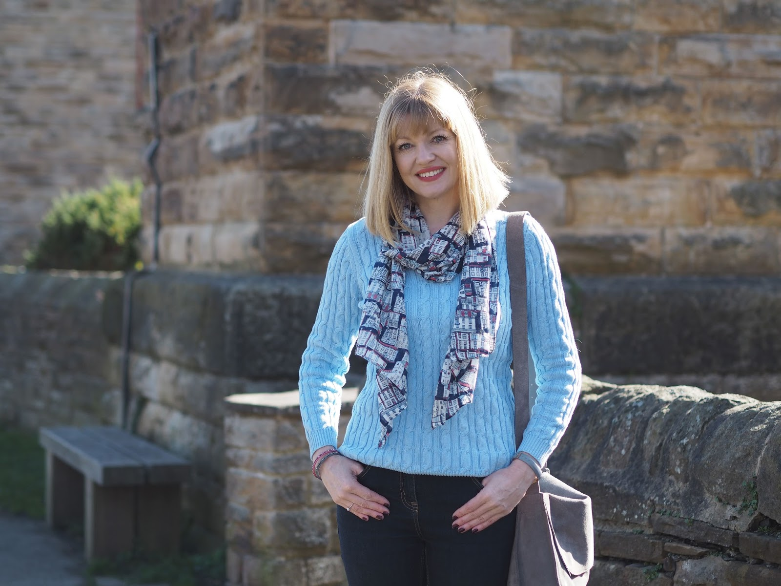 Sky blue cable cotton jumper with jeans and Kirkby Lonsdale scarf, over 40, silver supergas