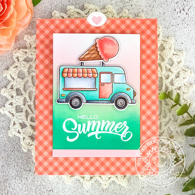 Sunny Studio Stamps: Cruisin' Cuisine Sliding Window Dies Heartstrings Border Dies Summer Themed Card by Angelica Conrad