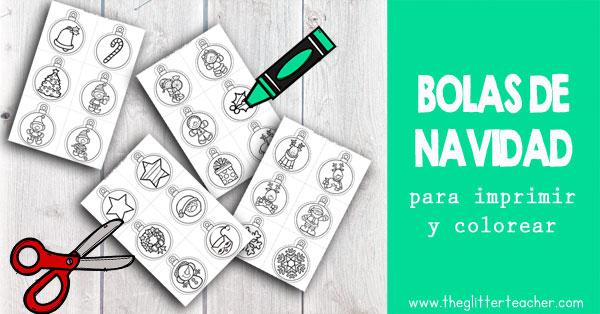 Bolas de navidad para imprimir y colorear con motivos y personajes navideños