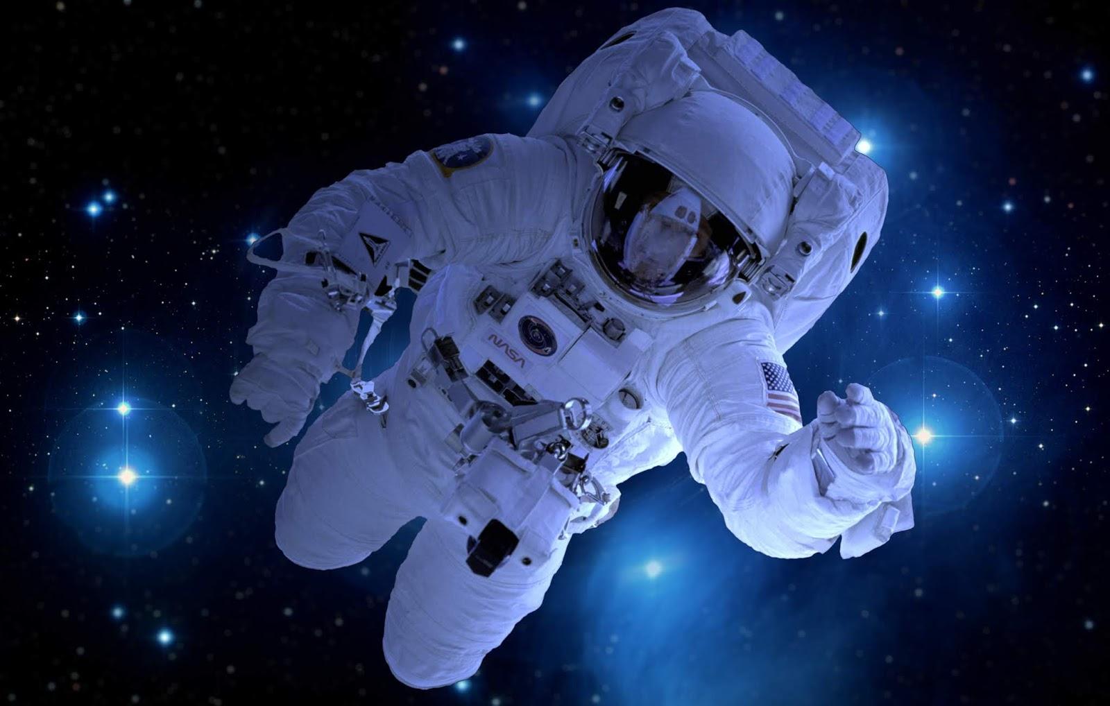 Astronaut, Deep Space, Stars, Blue, NASA, 4K, Space