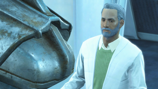Screenshot of the Institute's Father from Fallout 4
