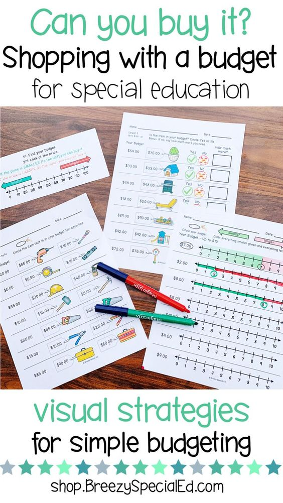 How to teach simple budgeting skills to let students know if they have enough money for purchase an item. Great for visual learners and special education classrooms.