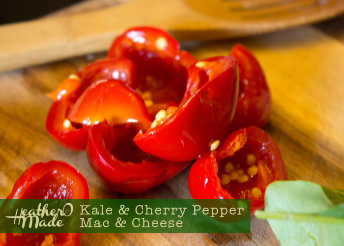 kale hot cherry pepper mac n' cheese recipe. easy. inspired by the kale, lil mama's peppers mac n' cheese at the celler at beechers nyc.