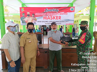 Pemdes Balung Lor Bagikan 25.144 Masker Gratis