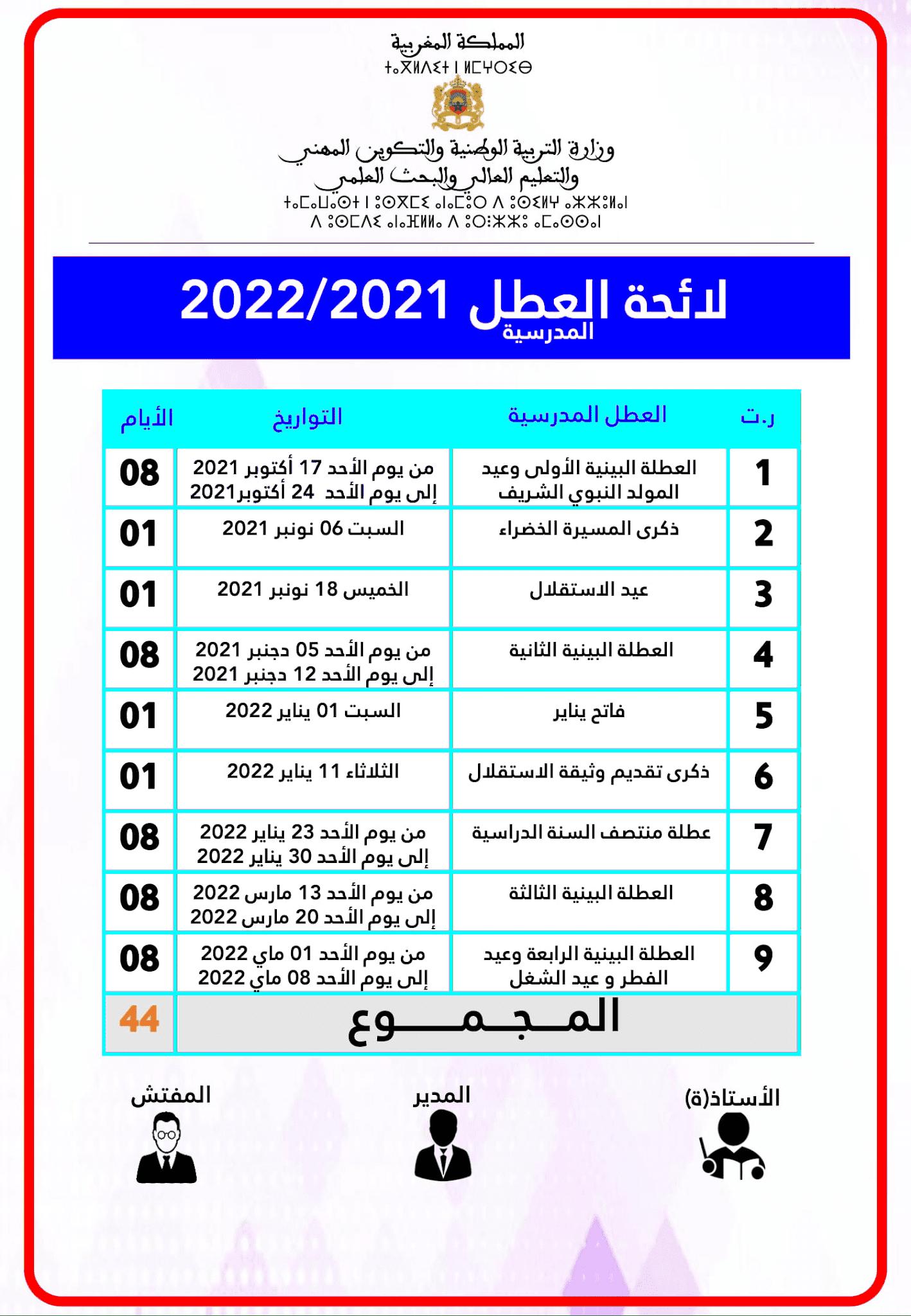 لائحة العطل 2021 2022