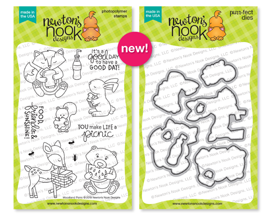 Woodland Picnic Stamp Set and Die Set by Newton's Nook Designs #newtonsnook