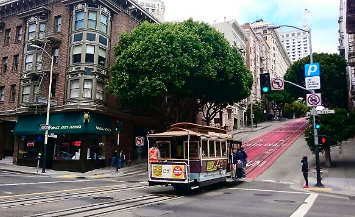 Tram car climbing the hills in San Francisco