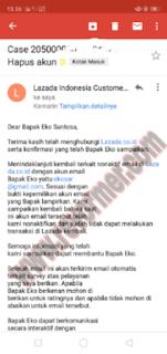Email pemberitahuan akun lazada di non aktifkan