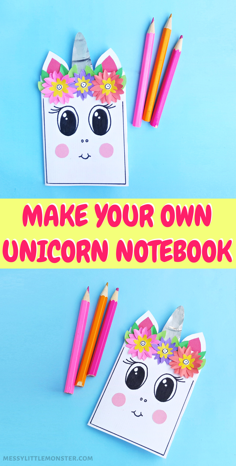 How to make a DIY notebook. Easy unicorn craft for kids.