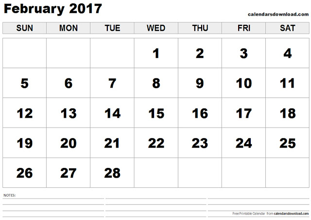 February 2017 Calendar Printable | Monthly Templates - Blank