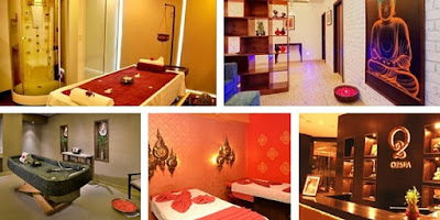 Collage of various rooms in the Spa Centre which includes multiple Body massage rooms with beds, waiting Hall and finally the Reception Hall.