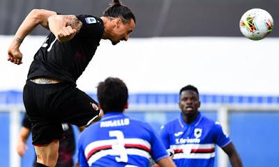 Colpo di testa di Ibrahimovic in occasione del primo goal del Milan.