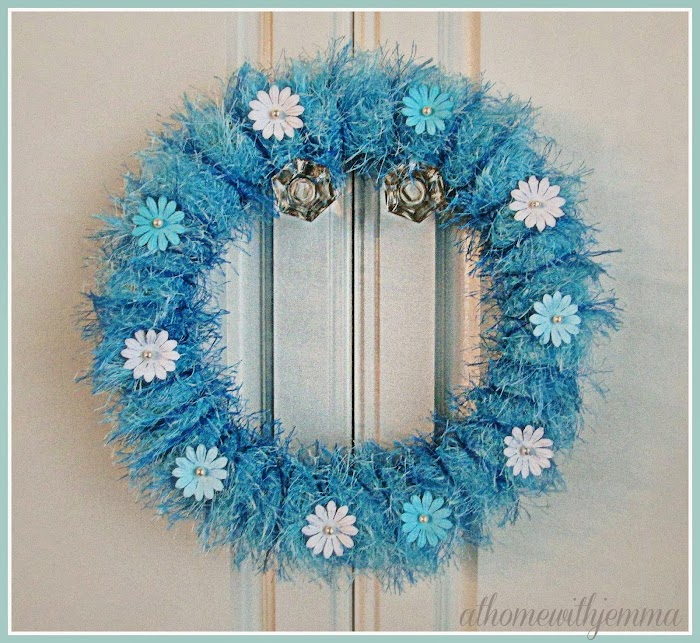 Blue Yarn Spring Wreath- DIY